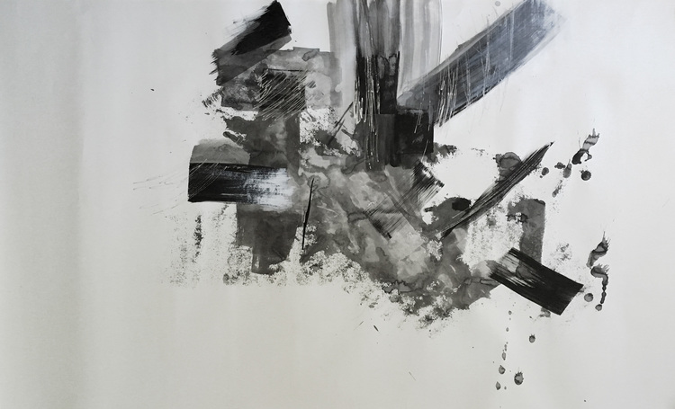 """Samurai in Motion I. 73""""x42"""". Acrylic, charcoal ink. 2016"""