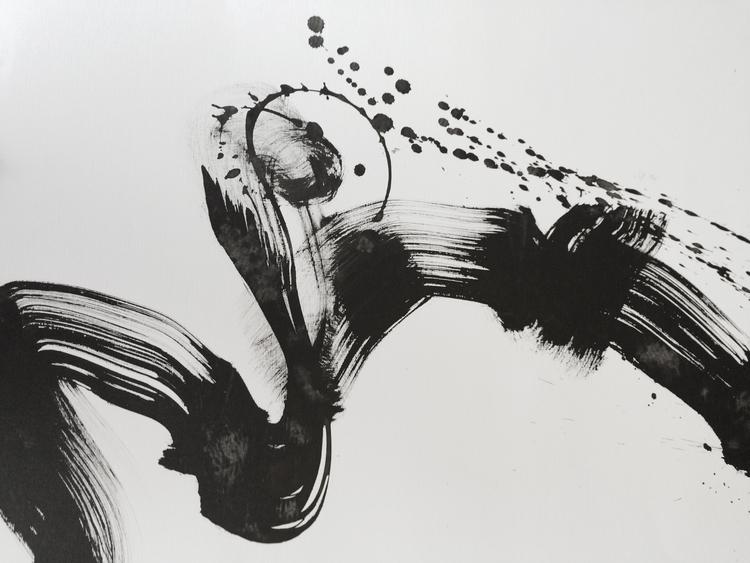 "Woman in Black Kimono I. 18"" x 24"". Charcoal ink. 2014"