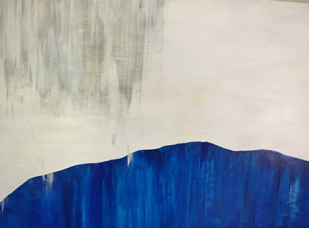 "Mountain Blue series of three. 60""x43"". Acrylic on wood panels. 2016"