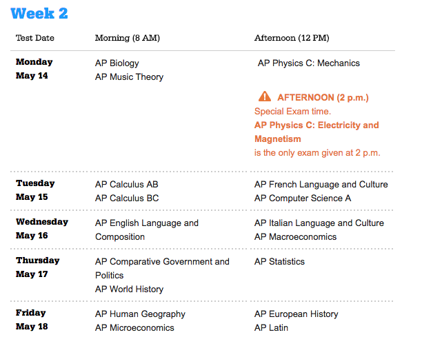 AP 2018 Test Schedule Week 2