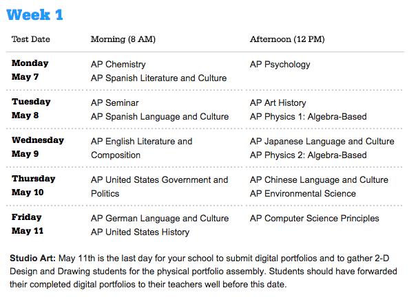 AP 2018 Test Schedule Week 1