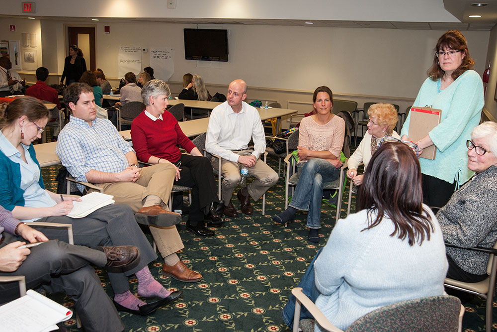 Caroline Kinsella leads one of the breakout discussions at the February 24 meeting.