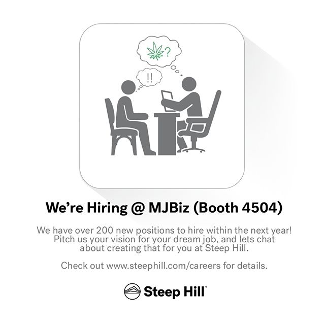 We're attending #MJBizCon to talk terpenes and jobs in the #cannabis industry!  Meet us at booth 4504 and let's talk about your dream job at Steep Hill :) #mmj #cannabiz #marijuana #cannabiz #stoners #science #lasvegas #steephilllab #terps #jobs #health #mjbiz #medicalcannabis #cannabiscommunity
