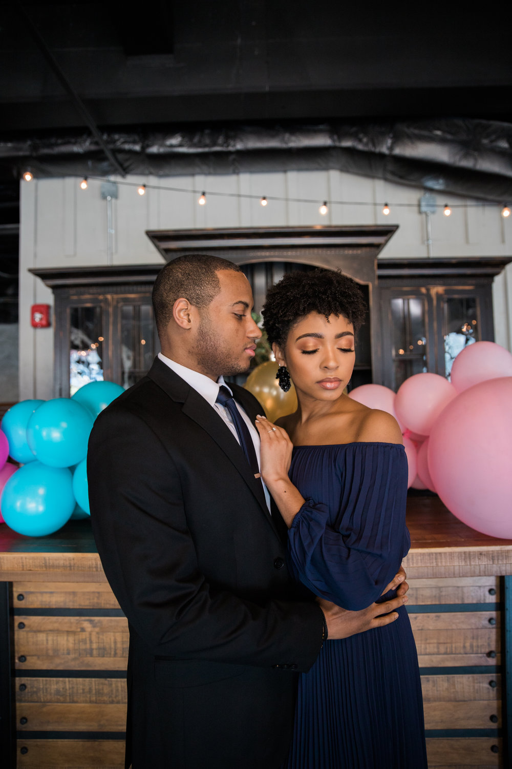 Natural Hair Black Bride in Baltimore Main Street Ballroom Engagement Session by Megapixels Media Photography-5.jpg