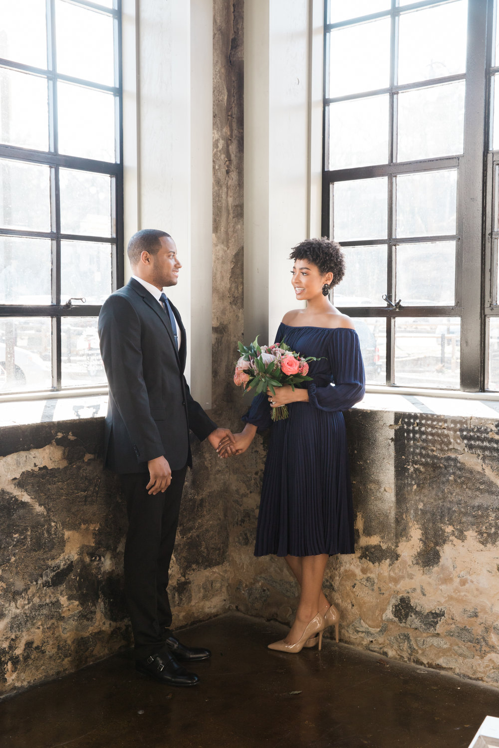 Natural Hair Black Bride in Baltimore Main Street Ballroom Engagement Session by Megapixels Media Photography-10.jpg