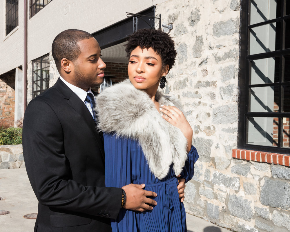 Natural Hair Black Bride in Baltimore Main Street Ballroom Engagement Session by Megapixels Media Photography-25.jpg