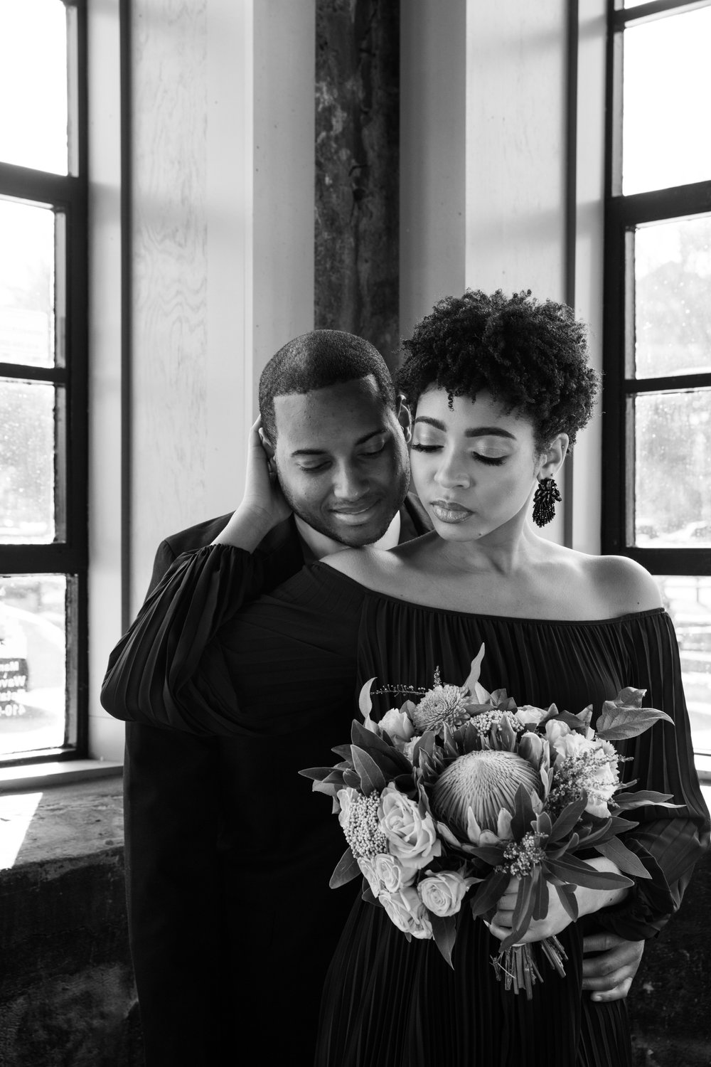 Natural Hair Black Bride in Baltimore Main Street Ballroom Engagement Session by Megapixels Media Photography-15.jpg