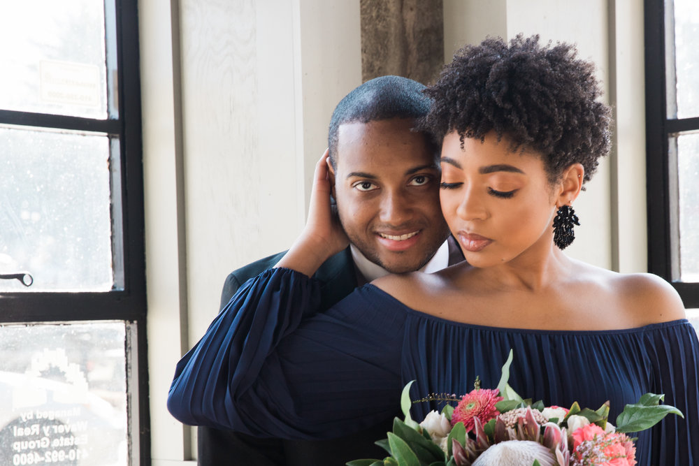 Natural Hair Black Bride in Baltimore Main Street Ballroom Engagement Session by Megapixels Media Photography-17.jpg