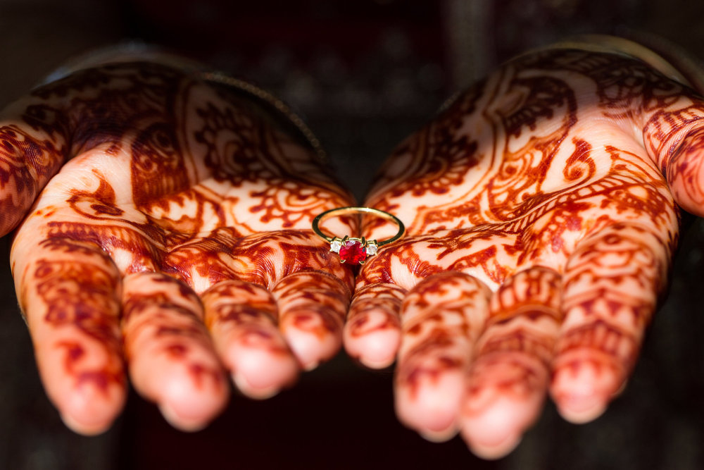 Best Indian Wedding Photographers in Maryland Megapixels Media henna and ruby ring of Indian Bride.jpg