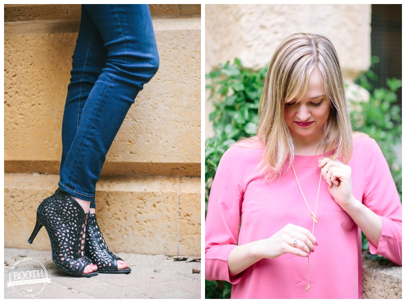 Fashion Blogger Maya McDonald of Charmingstyled shows off her necklace and shoes