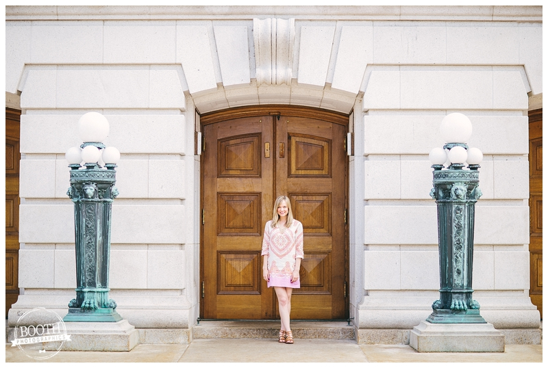 Fashion Blogger Maya McDonald of Charmingstyled at the state capitol in Madison, WI