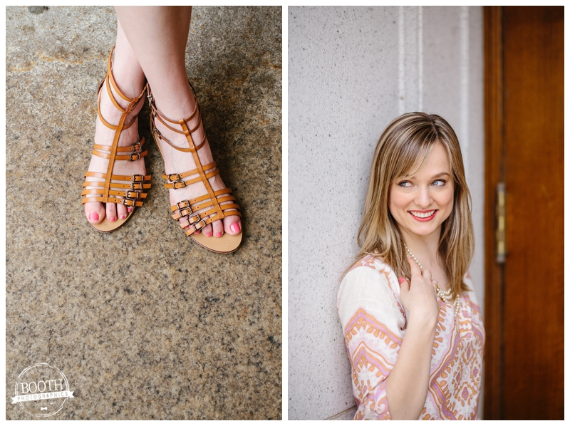 Fashion Blogger Maya McDonald of Charmingstyled shows off her shoes at the state capitol in Madison, WI