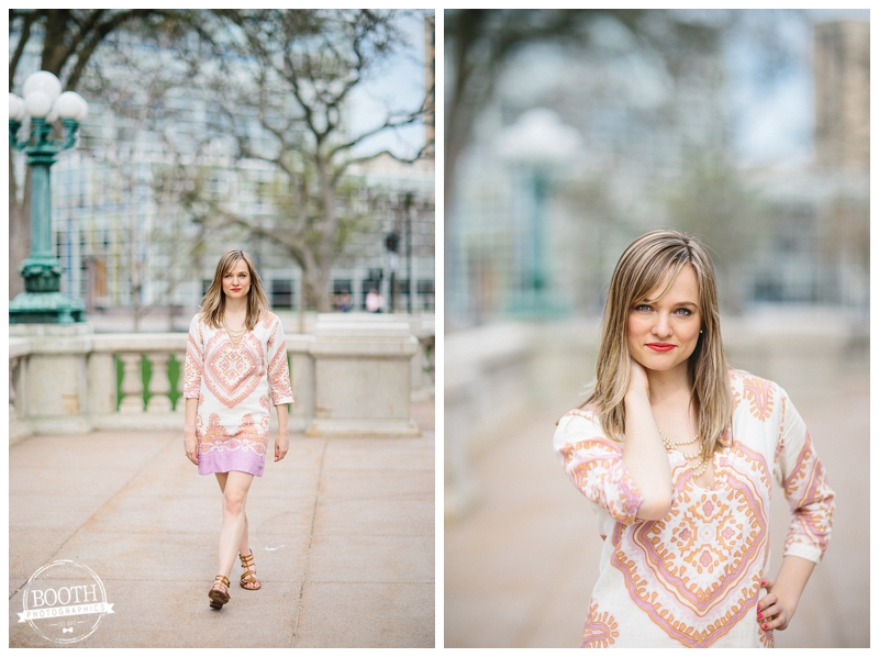 Fashion Blogger Maya McDonald of Charmingstyled modeling at the state capitol in Madison, WI