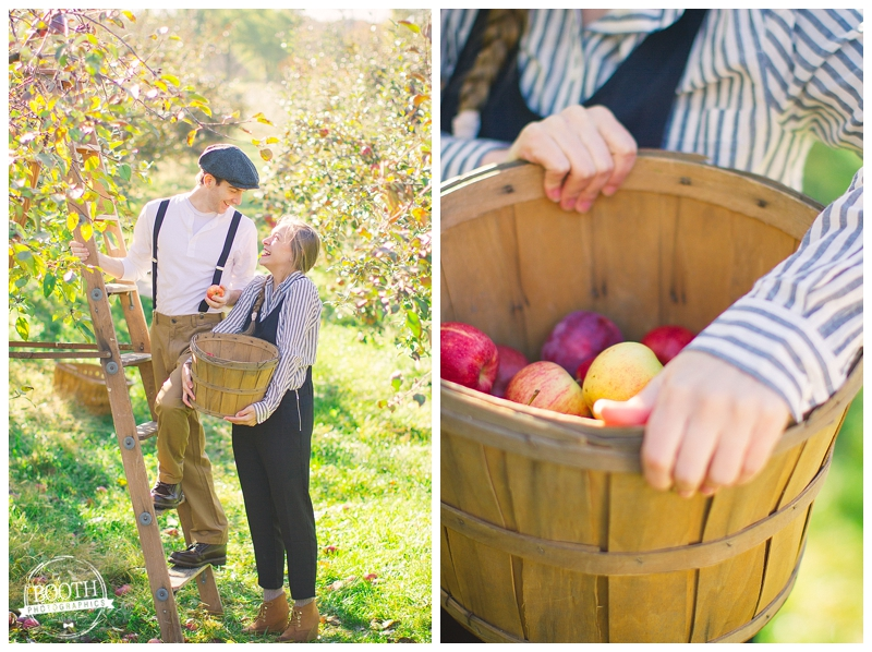 Couple picking apples at the Door Creek Orchard in Madison