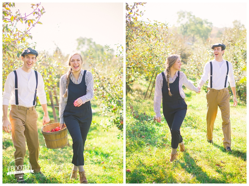couple walking through a Madison, Wisconsin orchard