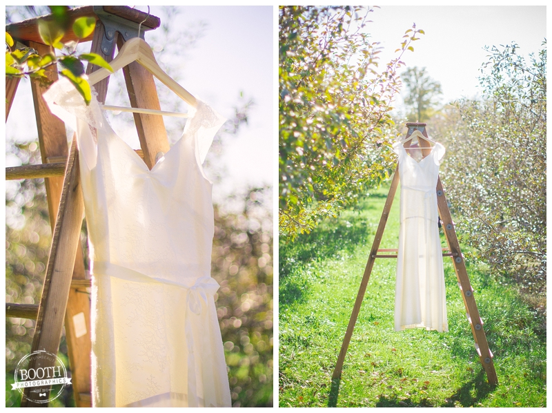 wedding dress on a ladder in an apple orchard in Madison, WI