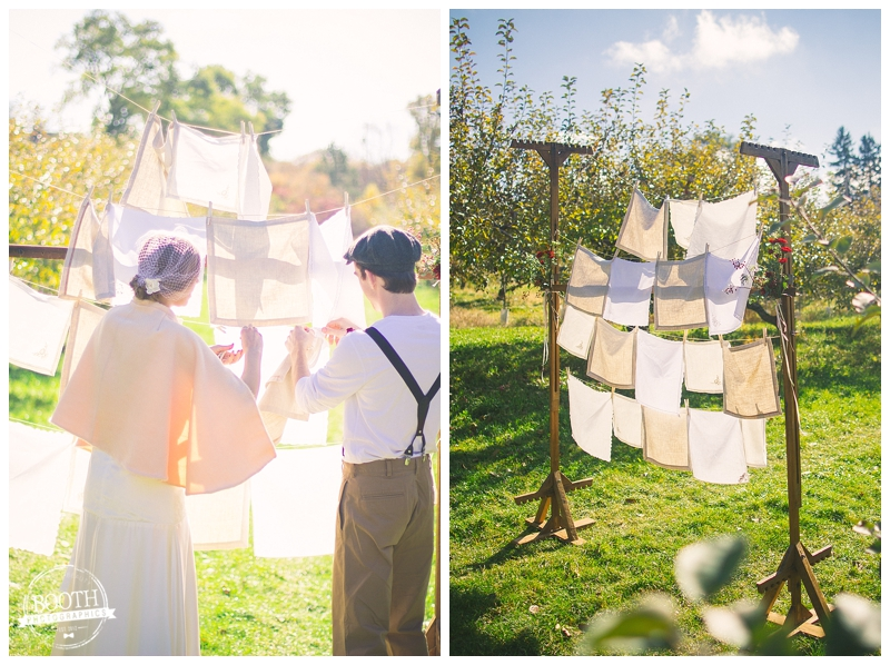 ceremony backdrop for a vintage orchard wedding in Madison, WI