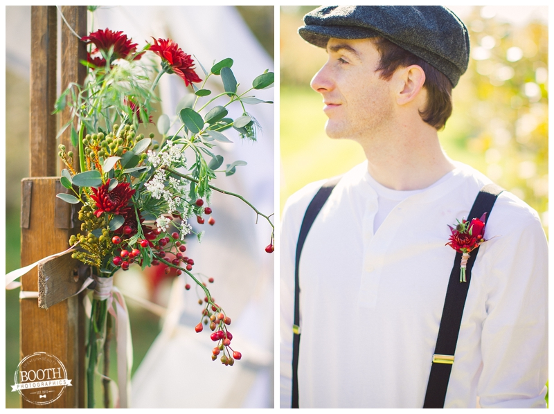 groom at a Madison Wisconsin orchard wedding