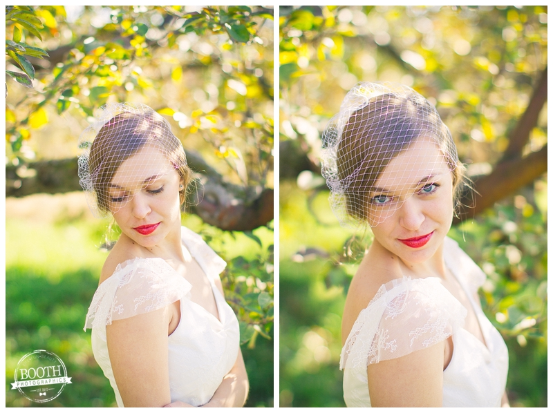 bride at a Madison Wisconsin orchard wedding