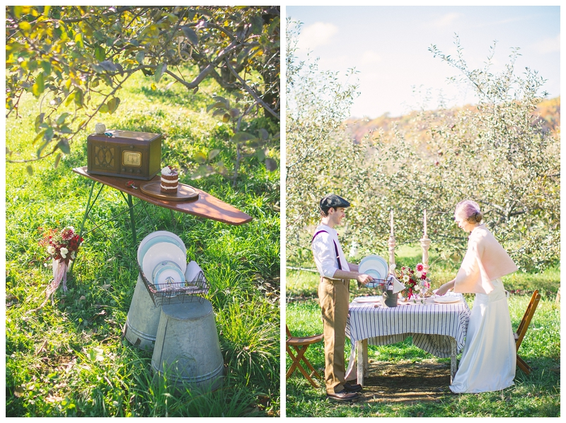 couple setting the table at an orchard wedding in Madison, WI