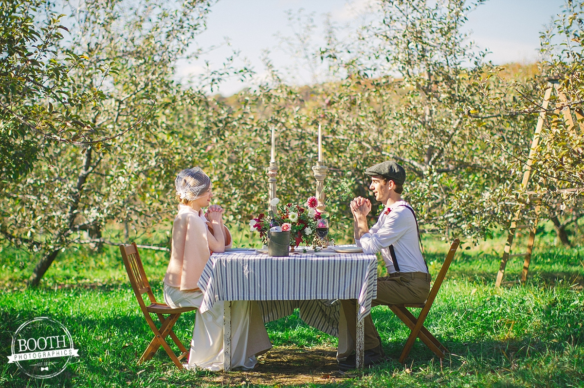 couple at their reception in an orchard in Madison, Wisconsin