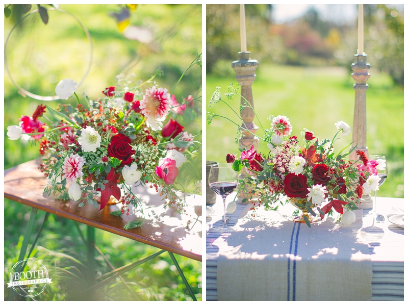florals at an orchard wedding in Madison, WI