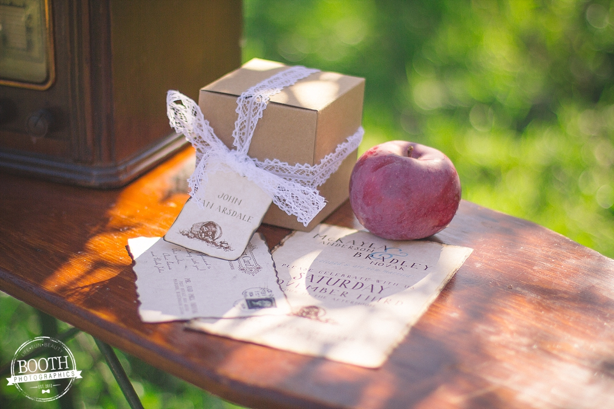 invitations to a vintage orchard wedding in Madison, WI