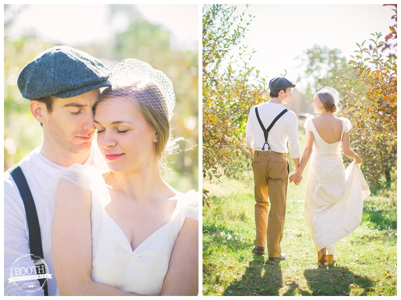 ... bride and groom cuddling at their wedding at Door Creek orchard in Madison Wisconsin