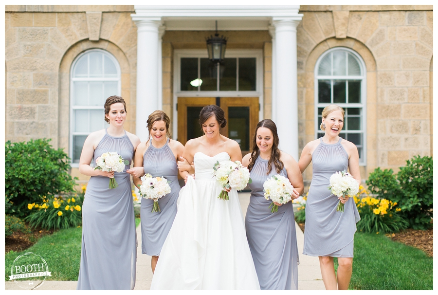 bridal party at Bascom Hall at the UW Madison