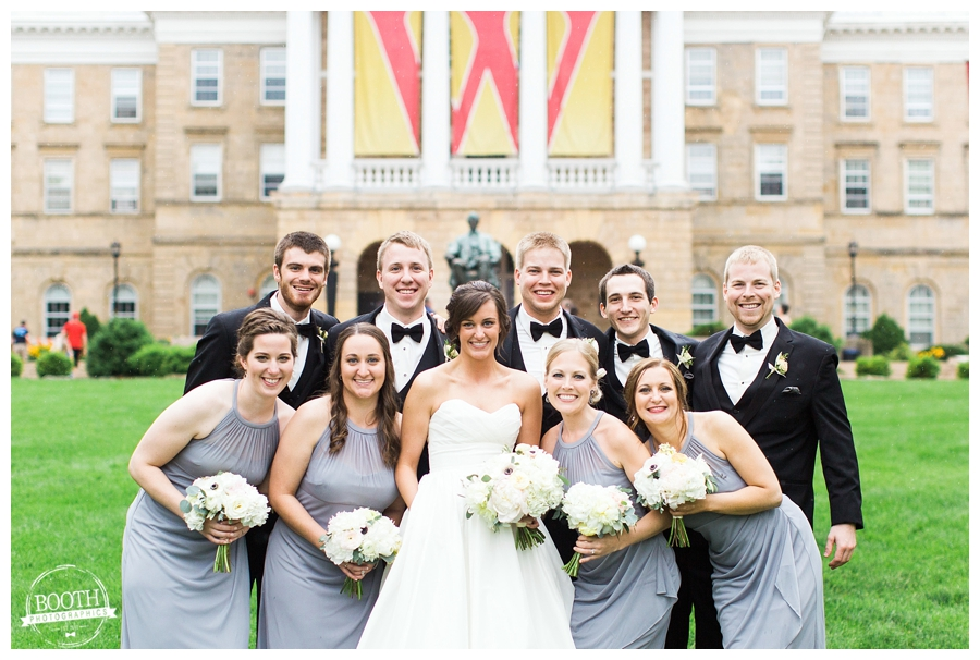 Elegant black Tie UW Madison wedding bridal party