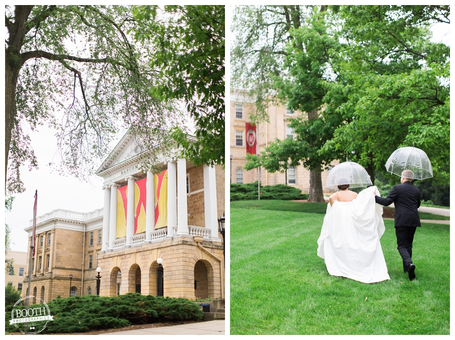 bride and groom at Bascom Hall