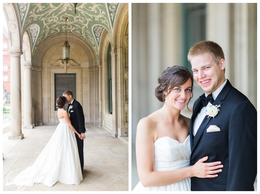 bride and groom at the UW Memorial Union for their Elegant black tie wedding