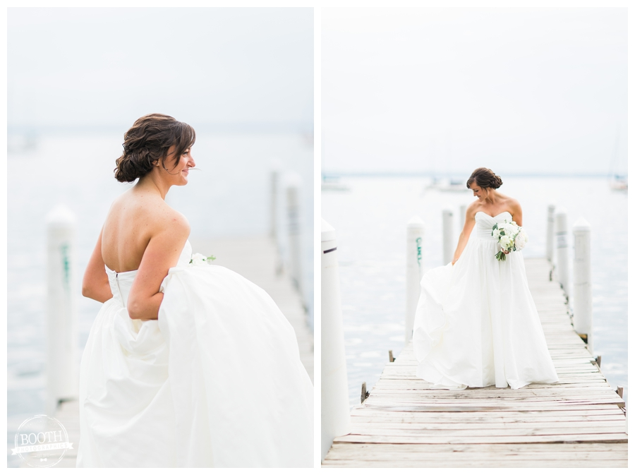 bride on a pier in Lake Mendota at the UW Memorial Union