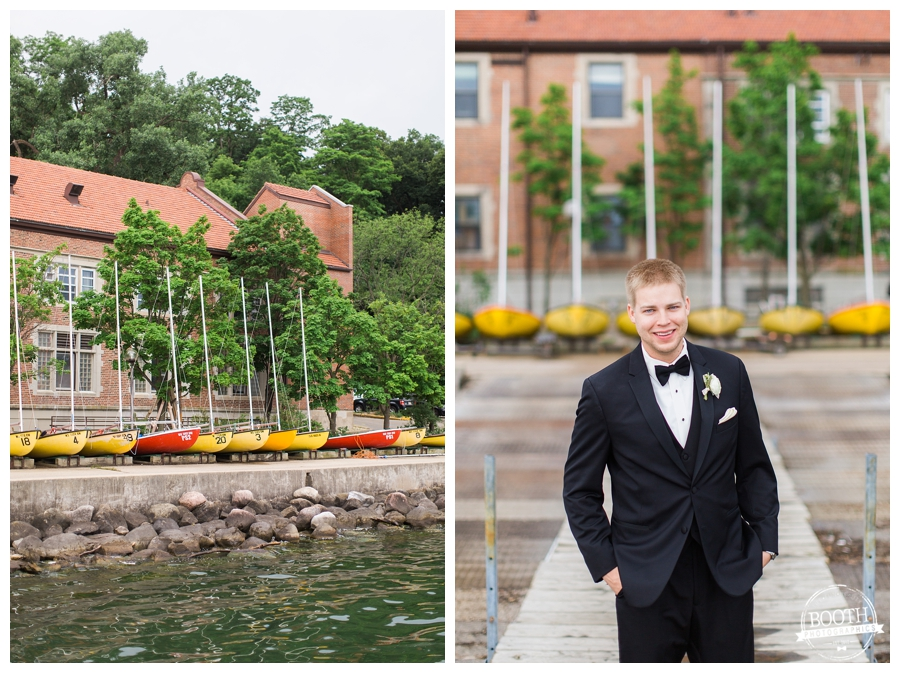 groom on the pier at the UW Memorial Union