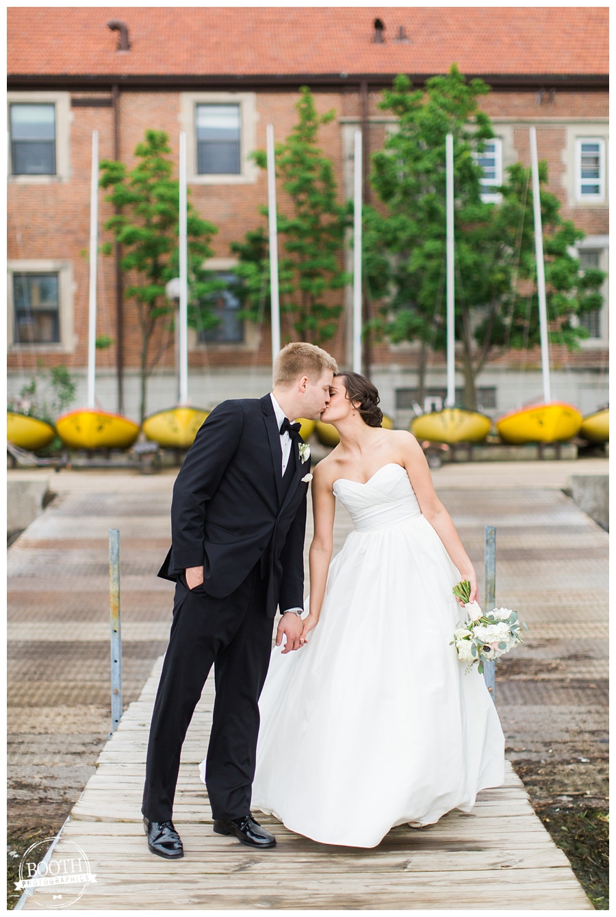 bride and groom on a pier at the UW Memorial Union