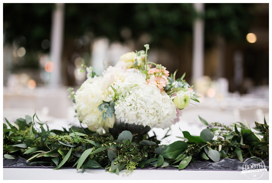 floral compote at an elegant garden inspired wedding at the Wisconsin Institute for Discovery