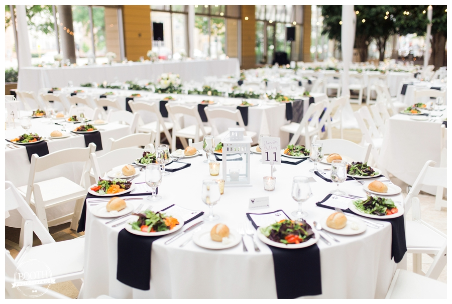 elegant garden wedding reception decor at the Wisconsin Institute for Discovery