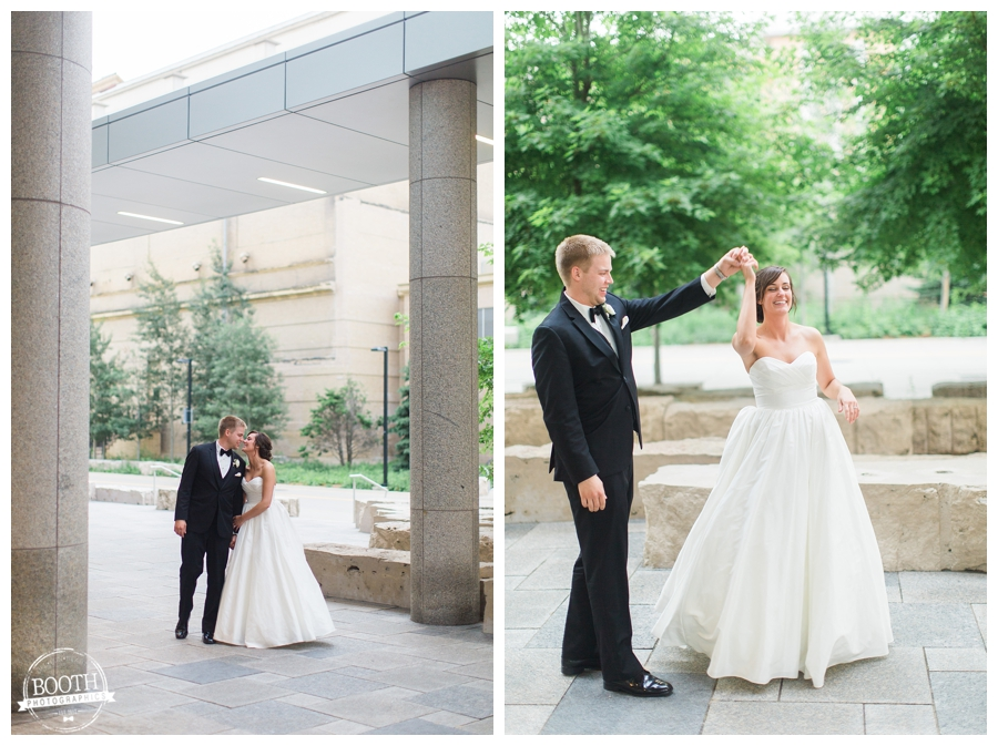 freshly married bride and groom photos at the Wisconsin Institute for Discovery