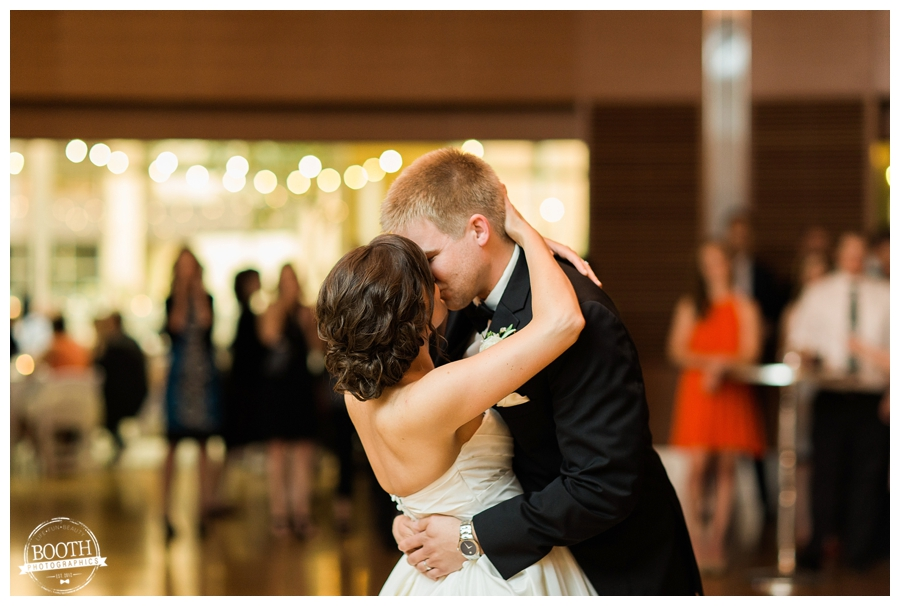 bride and groom enjoy their first dane at the Wisconsin Institute for Discovery