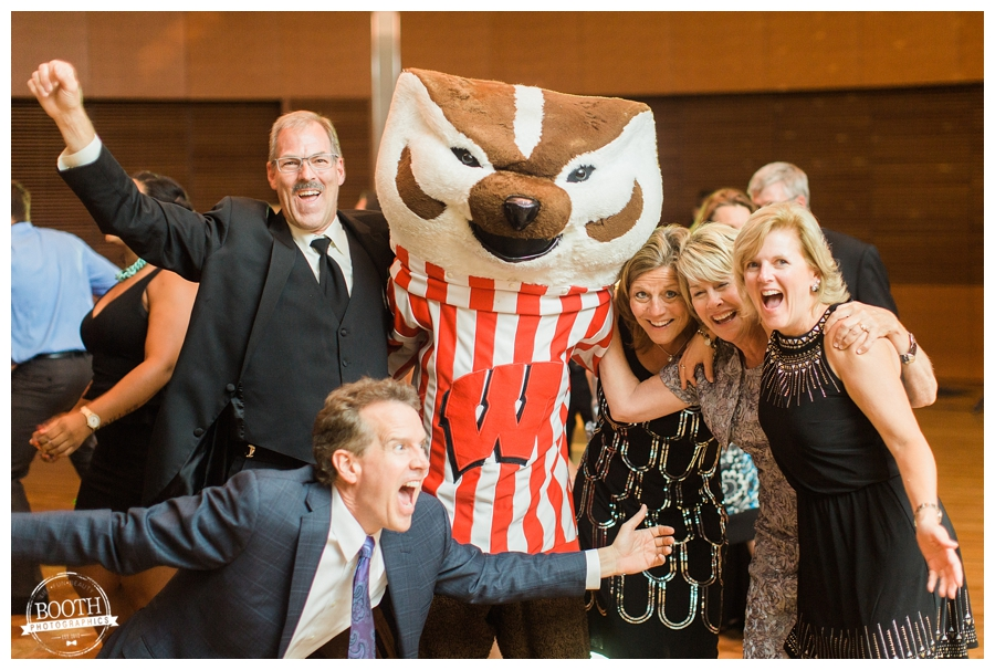 Dancing with Bucky the Badger at a UW Madison Wedding