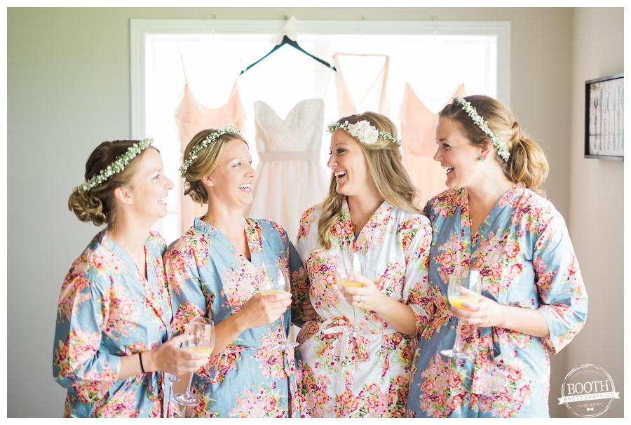 bridal party enjoying mimosas in plum pretty sugar robes