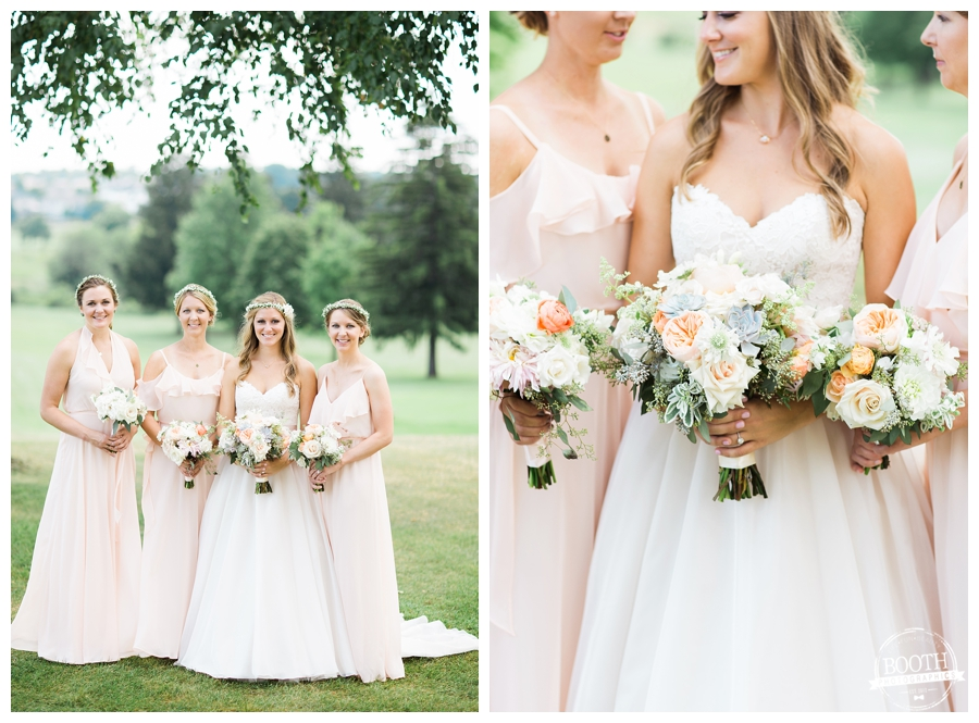 bohemian bridesmaids in rose colored dresses and bouquets by Daffodil Parker
