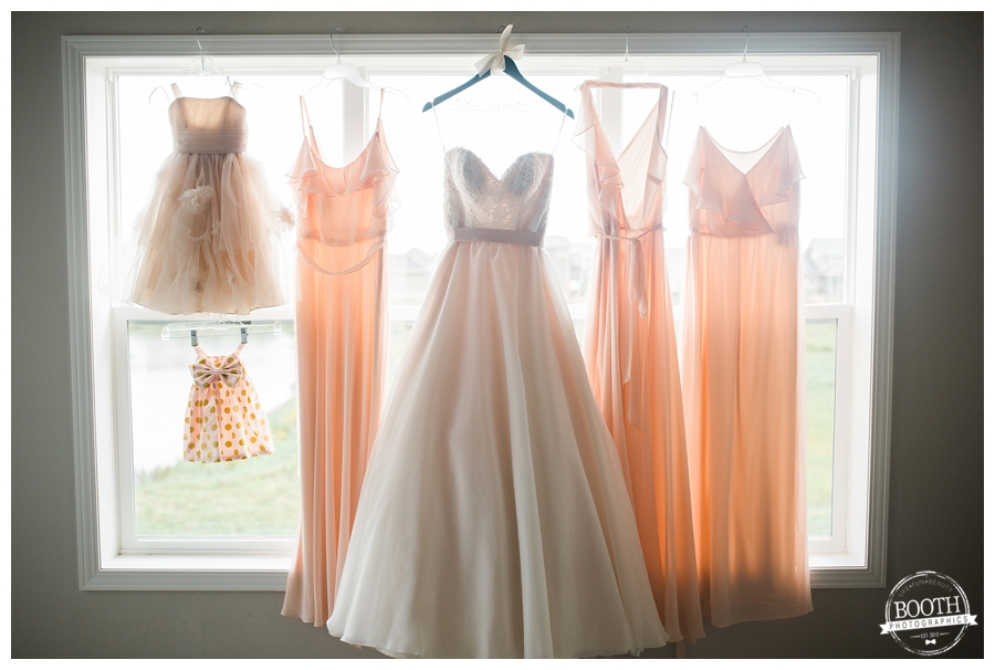 wedding dress and bridesmaids and flower girls dresses hanging up in a window