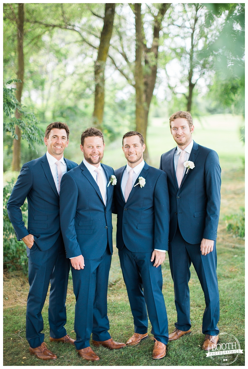 groomsmen in blue cotton suits at a Madison wedding