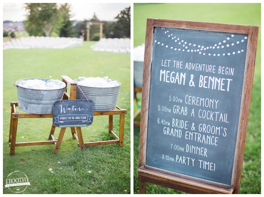 vintage a la crate wash basin and chalk board sign at a wedding ceremony