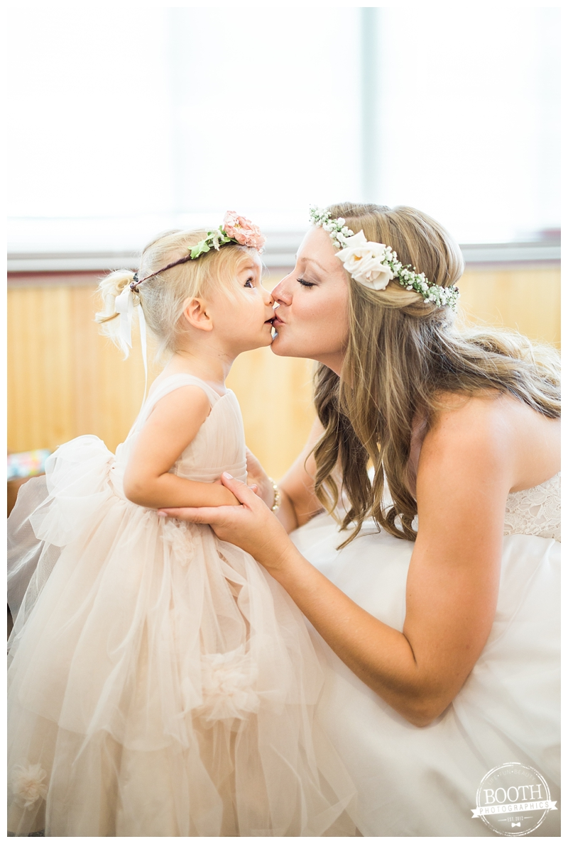 cute bride and flower girl kissing