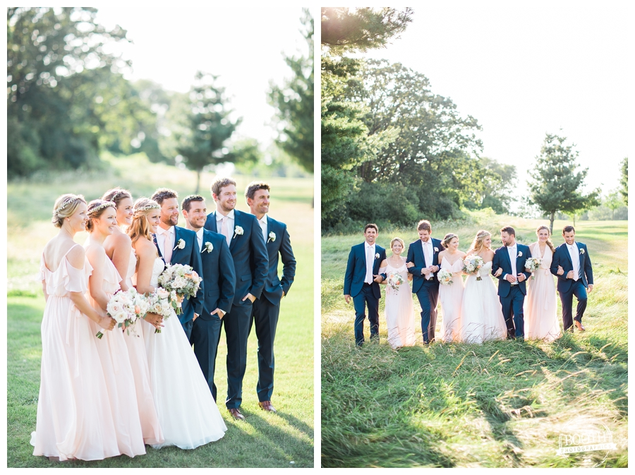 bridal party at an outdoor Wisconsin country club wedding