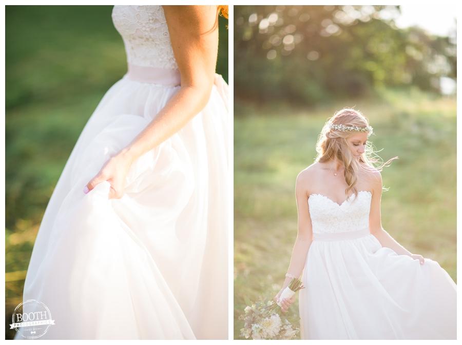 beautiful boho bride at her outdoor Wisconsin wedding