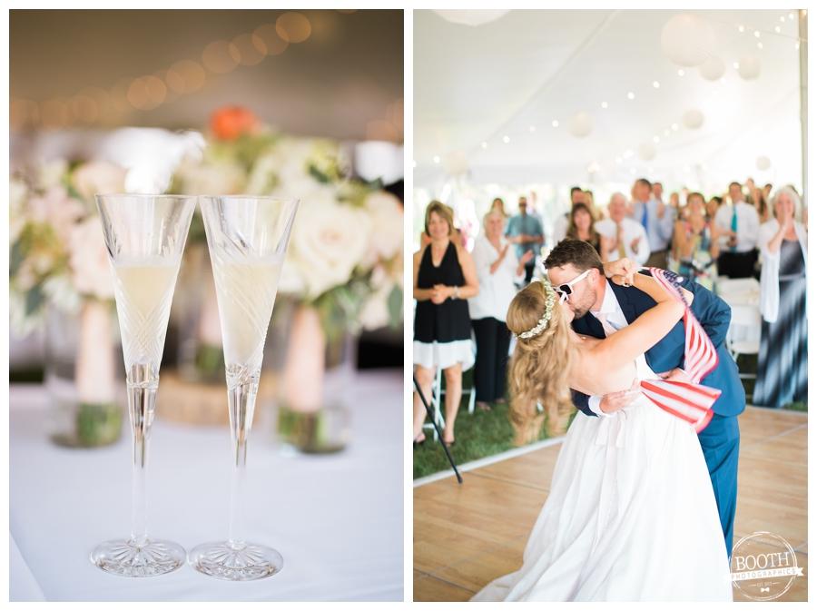 couple enjoying their outdoor wedding reception