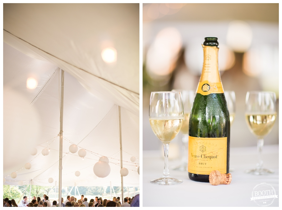 champagne at an outdoor wedding reception